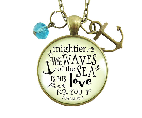 "36"" Anchor Necklace Mightier Than The Waves Christian Inspired Bible Quote God's Love Verse Womens Jewelry Gift"