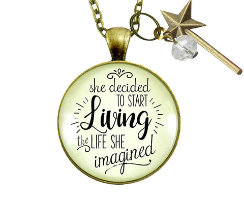 "24"" Choice Necklace She Decided to Start Living the Life She Imagined Glam Quote Inspired Bold Mantra Women's Jewelry"