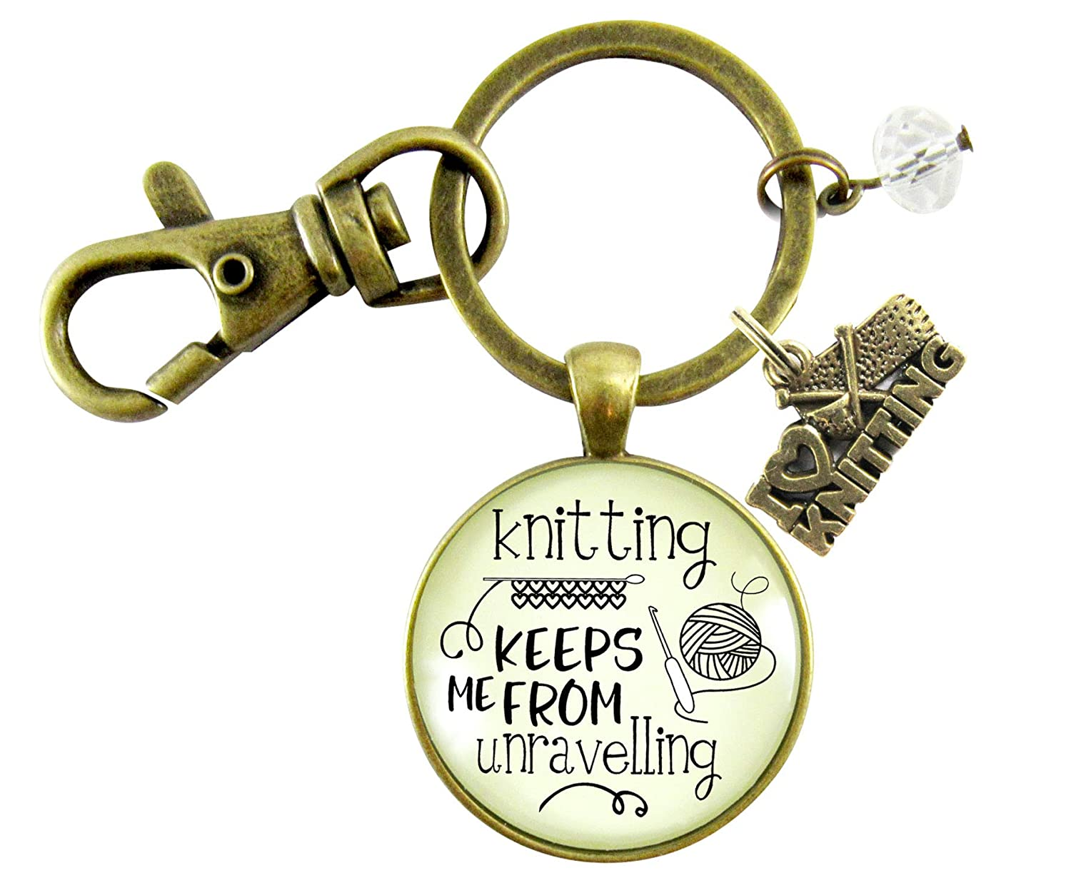 Knitter Keychain Knitting Keeps Me From Unravelling Women's Vintage Inspired Crafters Jewelry Gift Yarn Love Charm - Gutsy Goodness