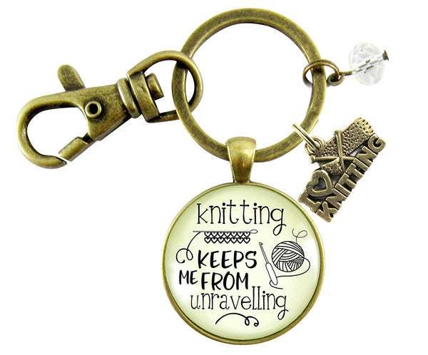 Knitter Keychain Knitting Keeps Me From Unravelling Women's Vintage Inspired Crafters Jewelry Gift Yarn Love Charm