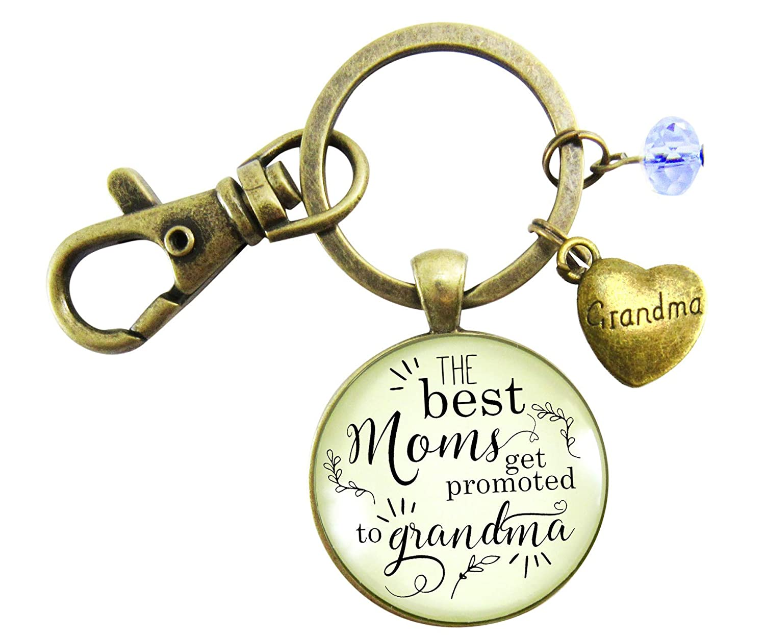 Pregnancy Announcement Grandma Gender Reveal Keychain Best Moms Gift Baby Baby Boy Jewelry Blue Heart Charm