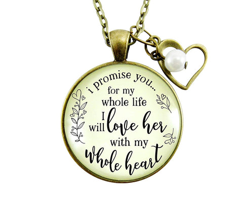 "36"" Mother-In-Law Necklace I Promise You I Will Love Her Rustic Wedding Gift Groom Women's Jewelry Heart Charm"