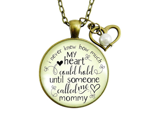 "Gutsy Goodness 24"" Mommy Necklace Never Knew How Much Heart Gift Mothers Jewelry"