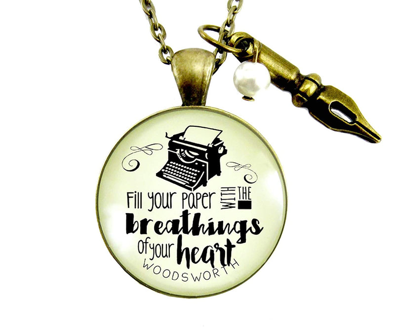 "24"" Writing Necklace Fill Your Paper Women's Vintage Style Literary Quote Typewriter Pendant Gift"