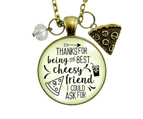 "24"" Pizza BFF Necklace Thanks For Being Best Cheesy Friend Pizza Theme Women's Fun Jewelry Gift Slice Charm"