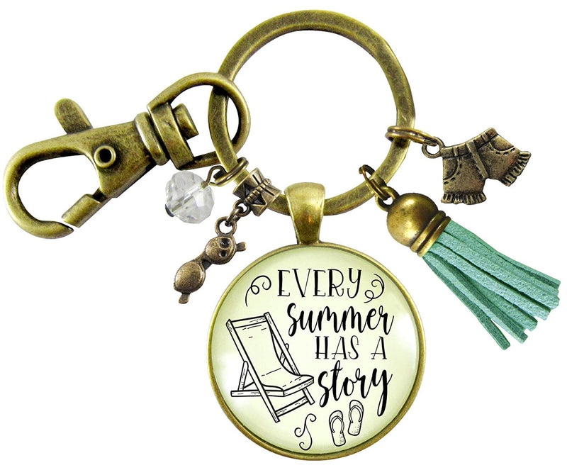 Summertime Keychain Every Summer Has a Story Beach Fashion Women's Pendant Nautical Style Tassel Charm