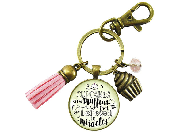 Cupcake Keychain Muffins That Believed In Miracles Baker Life Fun Quote Jewelry Retro Inspired Cake Charm For Women