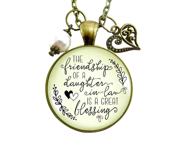 "24"" Daughter In Law Necklace Friendship Is A Great Blessing Gift From Mom Special Rustic Wedding Jewelry Heart Charm"