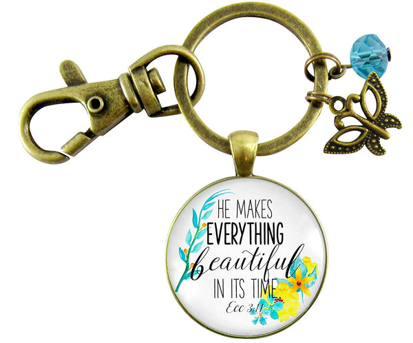 Gutsy Goodness He Makes Everything Beautiful Keychain Watercolor Faith Butterfly Pendant Jewelry For Women