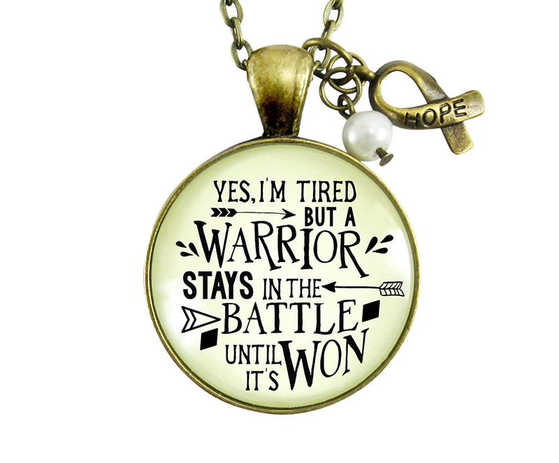 "36"" Survivor Necklace Yes I Am Tired But A Warrior Pendant Strong Womens Bold Life Message Quote Jewelry Ribbon Charm"