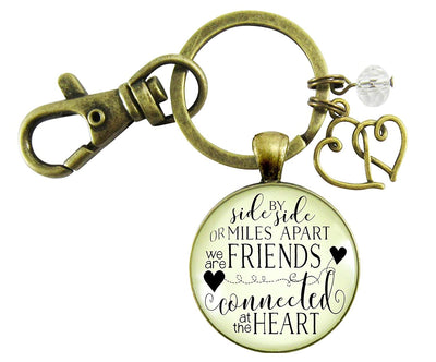 Best Friends Keychain Side By Side Miles Apart Long Distance Quote Friendship Gift Jewelry For Women Heart Charm - Gutsy Goodness