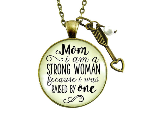 "24"" Mom I am a Strong Woman Because I Was Raised By One Necklace Mother Daughter Jewelry Heart Charm"