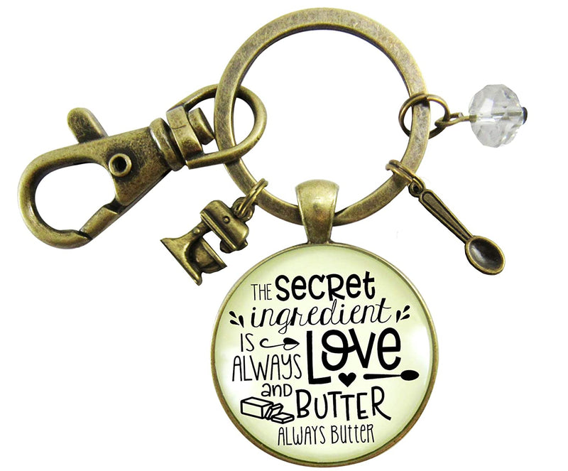Baking Keychain Secret Ingredient Is Love And Butter Southern Cook Food Jewelry For Women Gift Mixer Charm