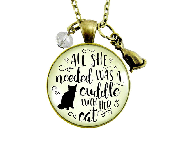 "24"" Cat Necklace All She Needed Was Cuddle Pendant Gift Quote Kitty Lover Related Cat Jewelry For Women"