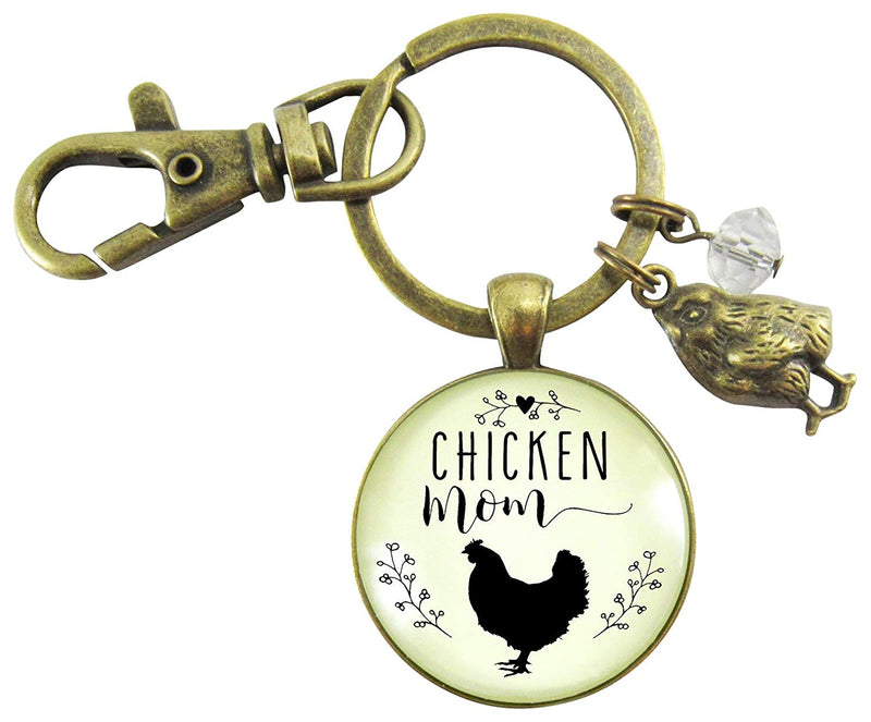 Chicken Mom Keychain Chick Gift For Mother Vintage Novelty Farm Life Chic Inspired Womens Pendant Baby Charm