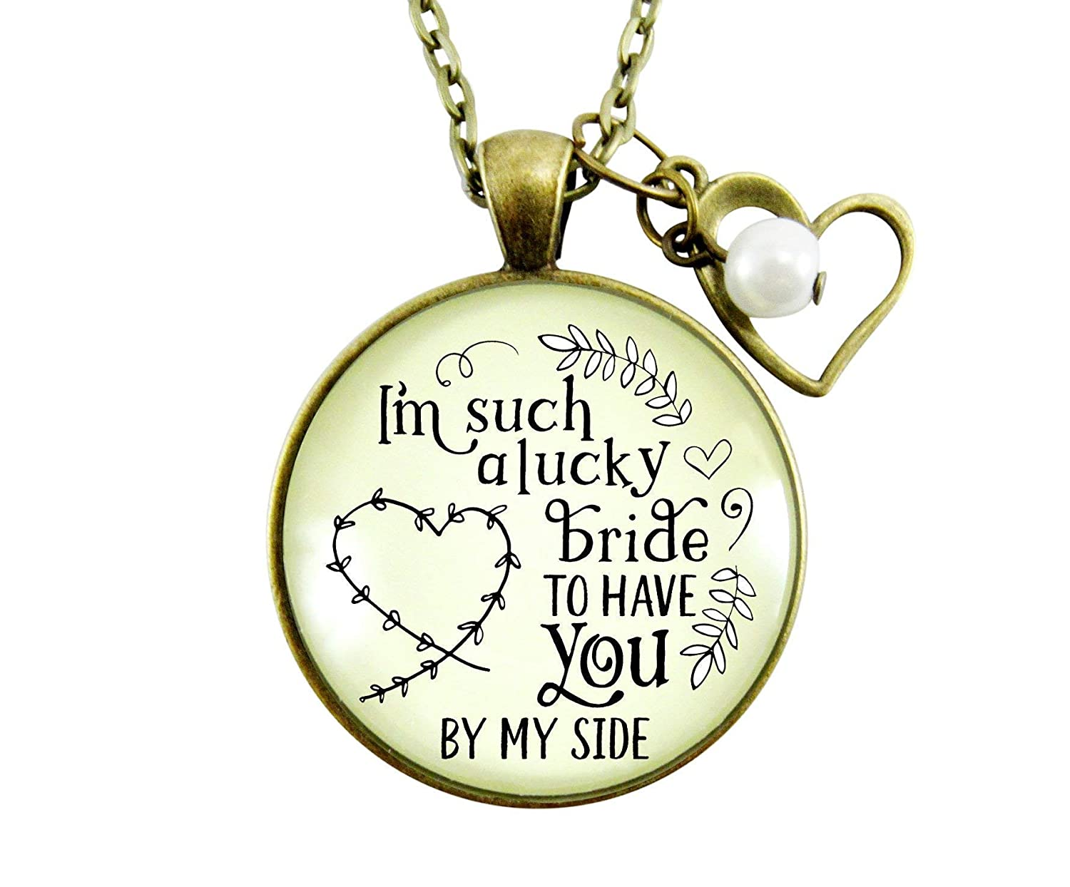 "Gutsy Goodness 36"" Bridesmaid Necklace I'm Lucky Bride Wedding Bachelorette Party Gift"