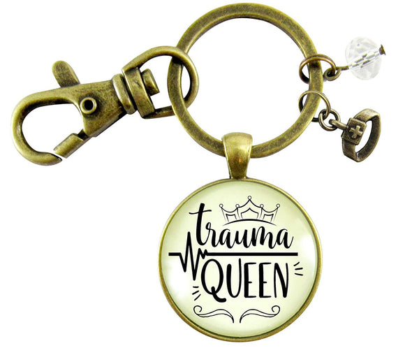 Trauma Queen Keychain Nurse Medical Assistant Inspired Funny Quote Jewelry Novelty Womens Vintage Pendant Gift
