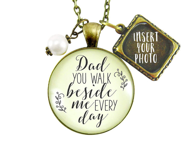 "24"" Remembrance Necklace Dad You Walk Beside Me Memorial Photo Charm Vintage Style Pendant Jewelry For Women"