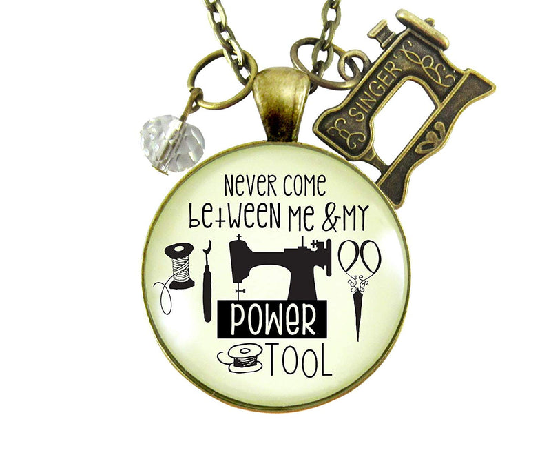 "24"" Seamstress Necklace Never Come Between My Powertool Fun Quote Womens Sewing Jewelry Vintage Inspired Machine Charm"