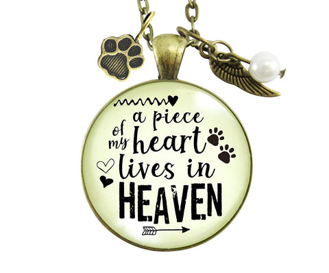 "Gutsy Goodness 24"" Pet Memorial Necklace Piece of Heart Angel Wing Paw Charm Jewelry"