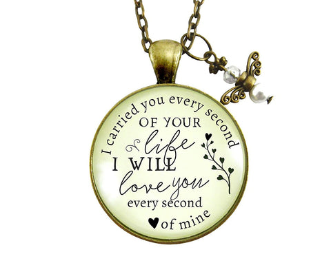 "36"" I Carried You Every Second of Your Life Miscarriage Necklace Baby Loss Angel Charm Remembrance Memorial Jewelry"