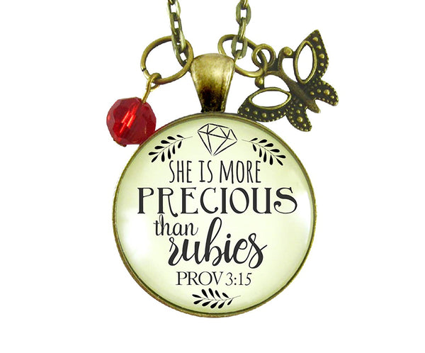 "24"" She Is More Precious Than Rubies Necklace Faith Inspired Women's Proverbs Jewelry Butterfly Red Charm Gift Card"
