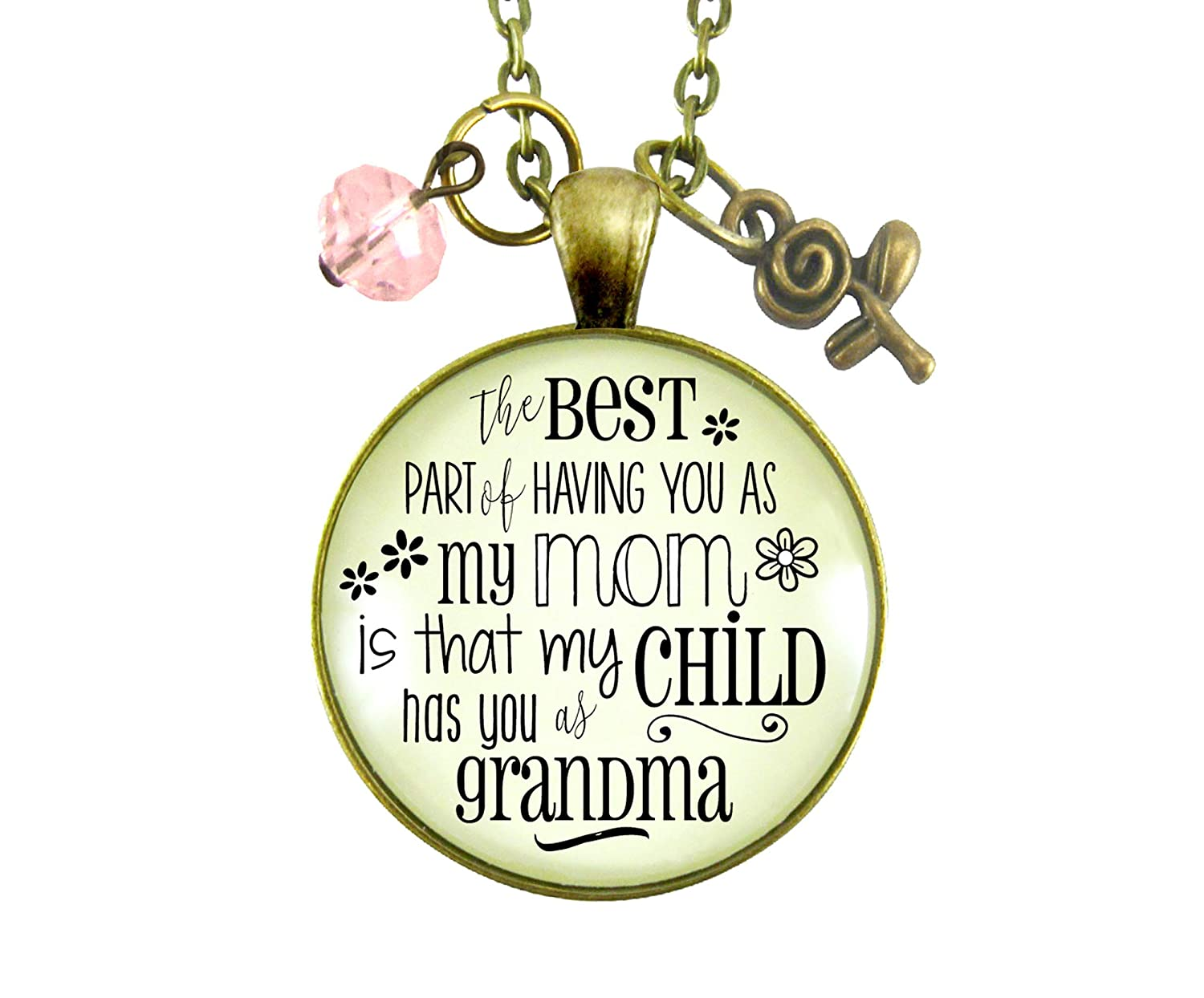 "Gutsy Goodness 24"" Grandma Necklace Best Part You as Mom Child Jewelry Gift Daughter"