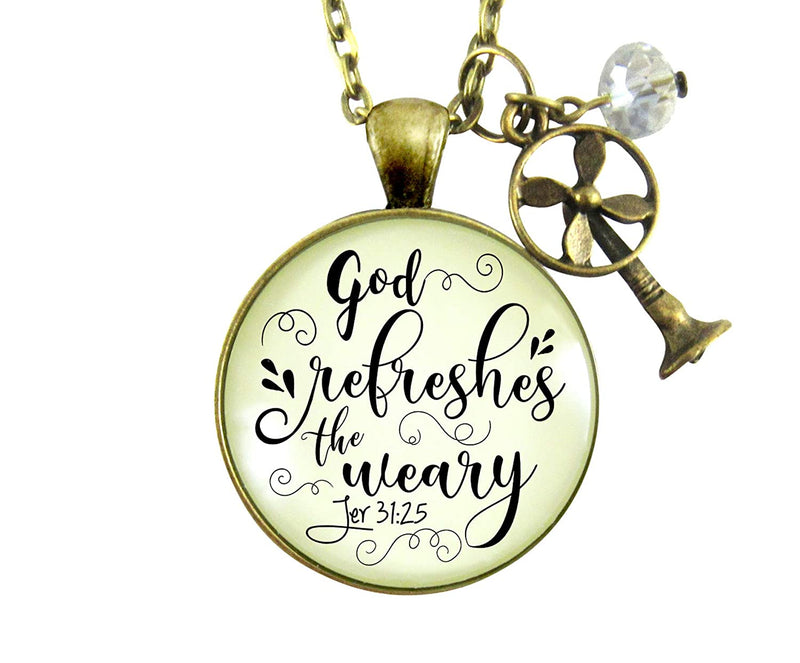 "Gutsy Goodness 36"" God Refreshes Weary Necklace Inspirational Faith Jewelry Fan Charm"