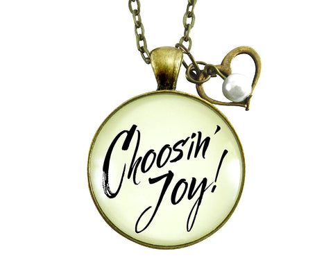 "Gutsy Goodness 24"" Choosing Joy Necklace Positive Life Mantra Jewelry Heart Charm"