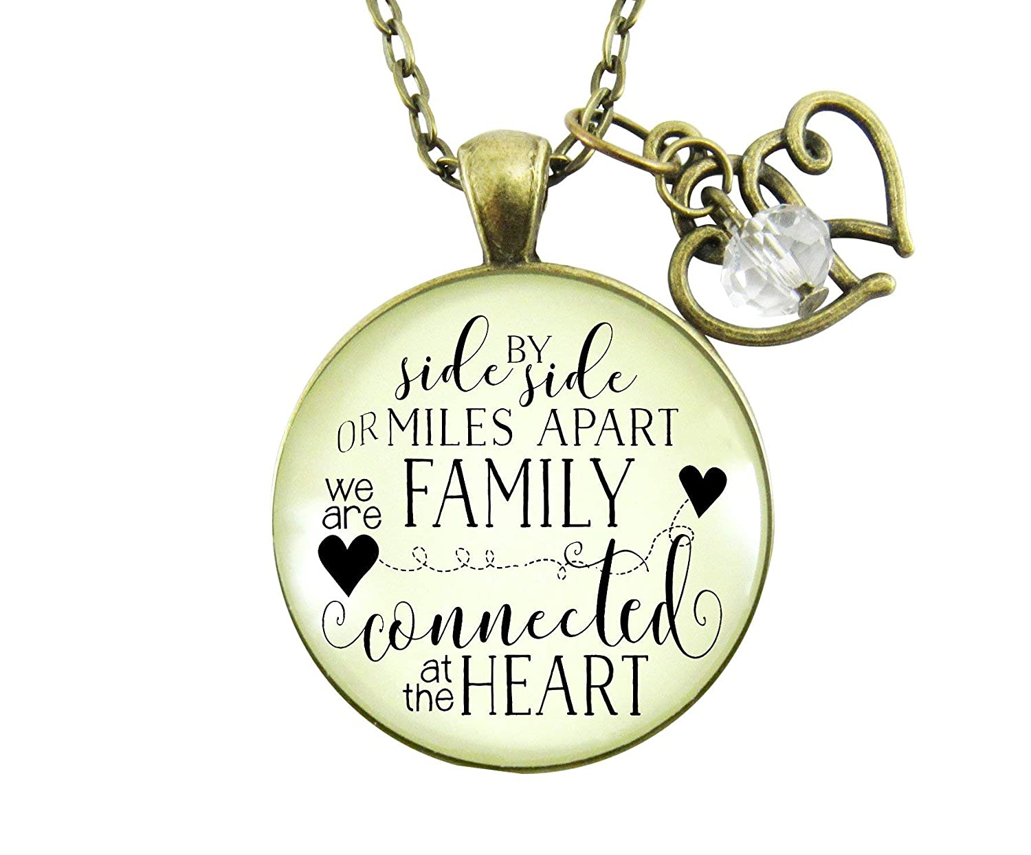 "Gutsy Goodness 24"" My Family Necklace Side by Side Long Distance Gift Charm Jewelry"