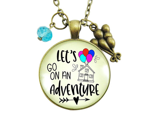 "24"" Let's Go On An Adventure Necklace Balloon House Charm Bronze Amazing Life Up In Clouds Bronze Pendant Vacation Jewelry"