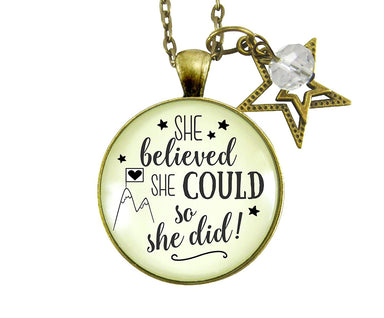 "36"" She Believed She Could So She Did Necklace Glam Quote Jewelry Positive Life Mantra Inspired Pendant Star Charm"