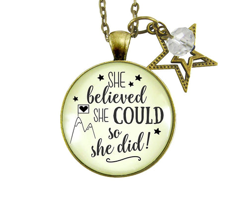 "24"" She Believed She Could So She Did Necklace Glam Quote Jewelry Positive Life Mantra Inspired Pendant Star Charm"