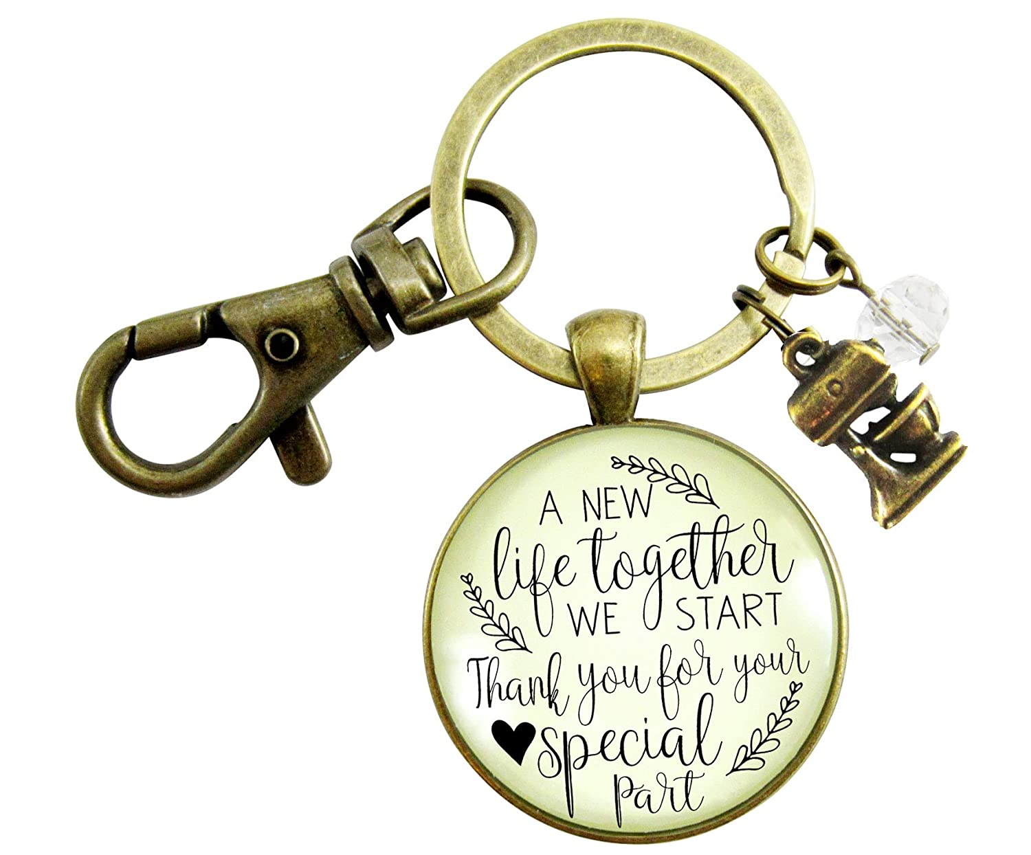 Wedding Cake Maker Gift Keychain A New Life We Start Rustic Jewelry Thanks Baker Mixer Charm Appreciation Note Card
