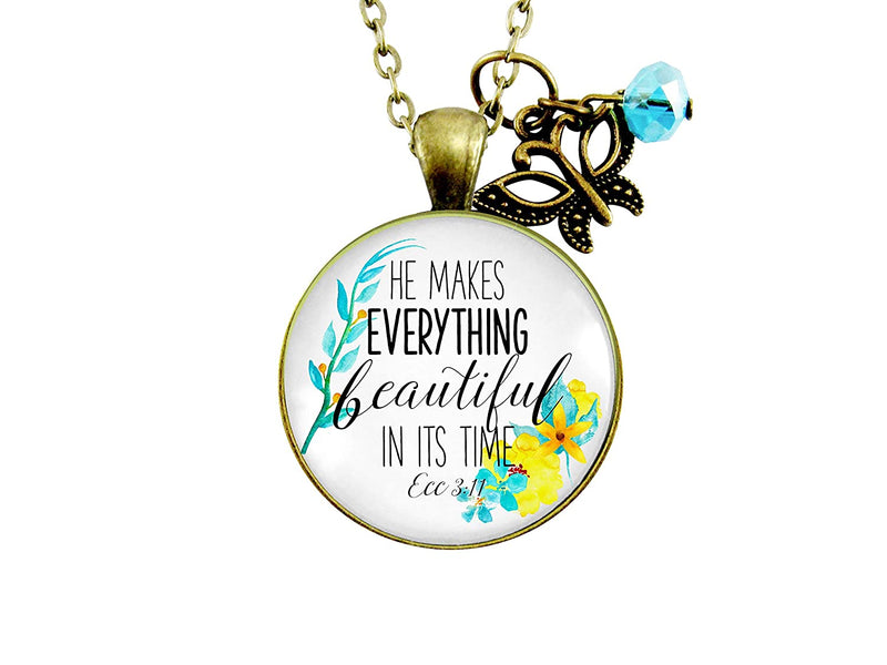 "Gutsy Goodness 24"" He Makes Everything Beautiful Necklace Christian Watercolor Jewelry"