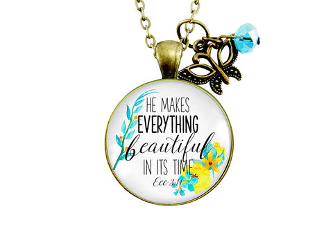 "24"" He Makes Everything Beautiful Necklace Christian Watercolor Pendant Faith Jewelry For Women Butterfly"
