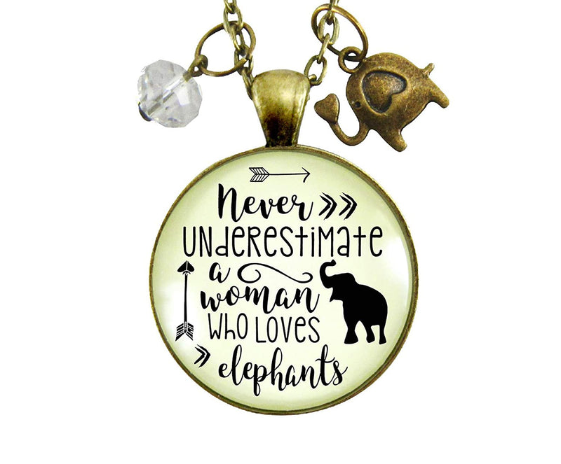 "Gutsy Goodness 36"" Elephant Necklace Never Underestimate Woman Loves Mantra Boho Jewelry - Gutsy Goodness"