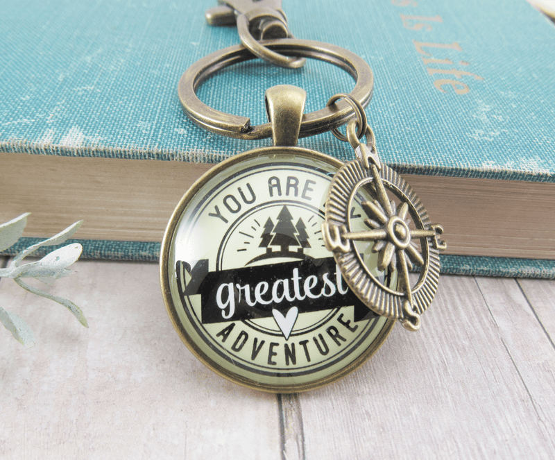 Gutsy Goodness You are My Greatest Adventure Compass Keychain Romantic Couple Gift - Gutsy Goodness