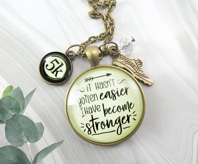 Gutsy Goodness 5K Marathon Runner Necklace Hasn't Gotten Easier Stronger Athlete Mantra Jewelry - Gutsy Goodness