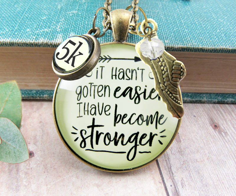Gutsy Goodness 5K Marathon Runner Necklace Hasn't Gotten Easier Stronger Athlete Mantra Jewelry - Gutsy Goodness Handmade Jewelry