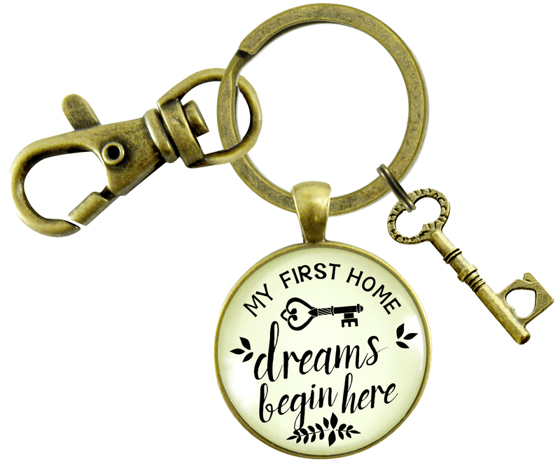 My First Home Keychain Dreams Begin Here Homeowner Home Buyers Gift