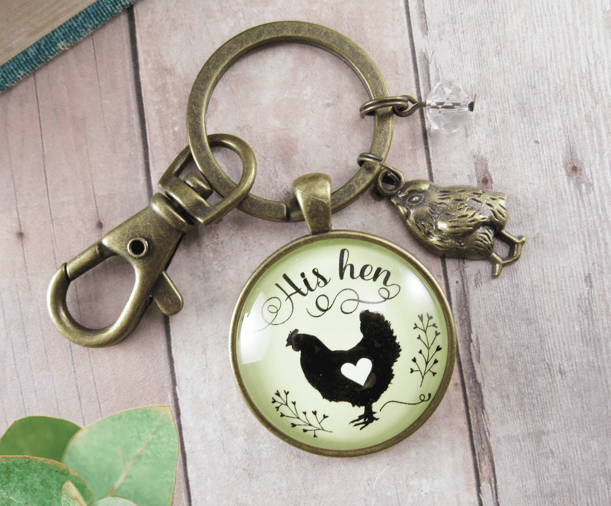 His Hen Her Rooster Keychain Set For Chicken Family Vintage Inspired Jewlery - Gutsy Goodness
