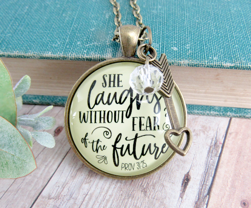 Gutsy Goodness Faith Necklace She Laughs Without Fear Inspirational Pendant Jewelry For Women - Gutsy Goodness Handmade Jewelry