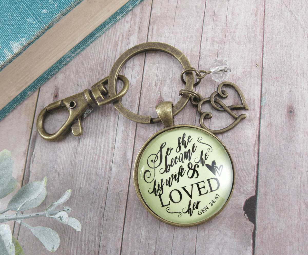 Love My Wife Keychain She Became His Wife He Loved Her Faith Inspired Jewelry Gift - Gutsy Goodness