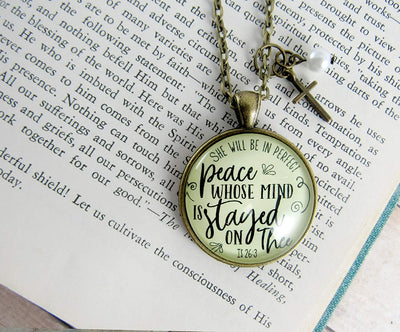 "Gutsy Goodness 24"" Peaceful Necklace She Will Perfect Peace Christian Cross Jewelry - Gutsy Goodness"