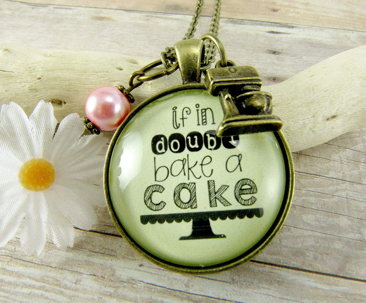"Gutsy Goodness 24"" Baking Necklace If in Doubt Bake Cake Kitchen Mixer Jewelry Charm"