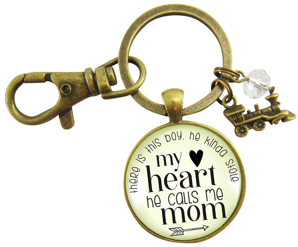 Mom Son Keychain There is This Boy He Kinda Stole My Heart He Calls Me Mom Train Charm Motherhood Jewelry
