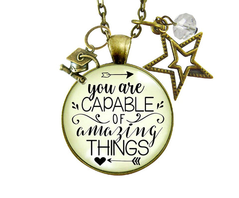 "24"" Graduation Necklace You Are Capable Of Amazing Things Womens Congratulations Graduate Jewelry Gift"