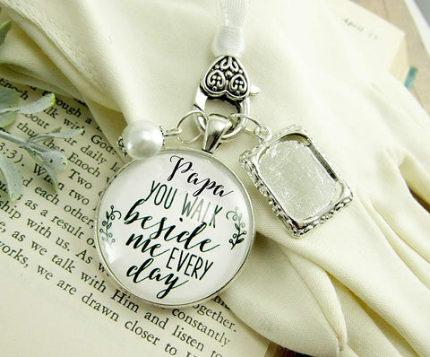Papa Wedding White Bouquet Charm Grandpa Photo Frame Memorial Grandfather Silver Finish Remembrance Bridal Jewelry