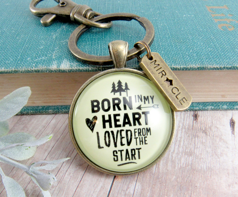 Bonus Dad Mom Adoption Keychain Born In My Heart Love Meaningful Step Parent Jewelry Miracle Charm - Gutsy Goodness Handmade Jewelry